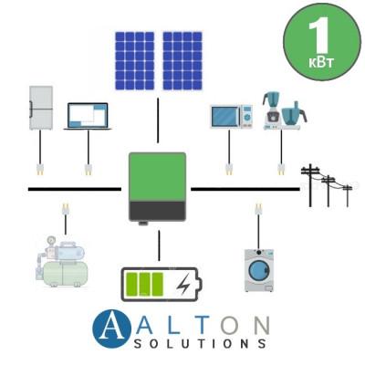 Гибридная солнечная электростанция 1 кВт