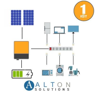 Автономная солнечная электростанция для дома 1 кВт