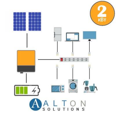 Автономная солнечная электростанция для дома 2 кВт