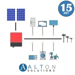 Сетевая солнечная электростанция для дома 15 кВт