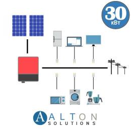 Сетевая солнечная электростанция для дома 30 кВт