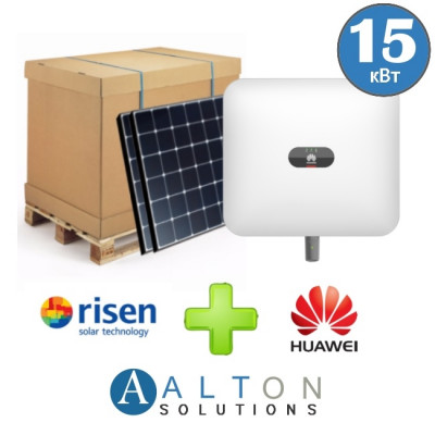 Комплект солнечных батарей 15 кВт Сетевая Risen + Huawei