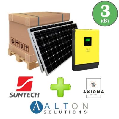 Комплект солнечных батарей 3 кВт Гибридная Suntech + Axioma