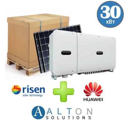 Комплект солнечных батарей 30 кВт Сетевая Risen + Huawei