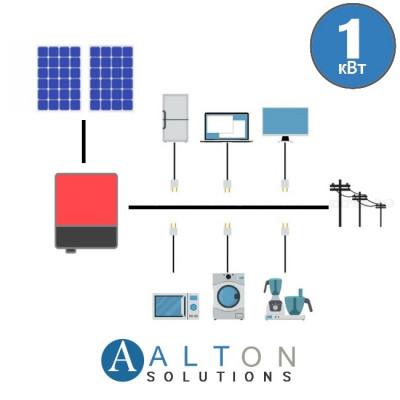 Сетевая солнечная электростанция 1 кВт